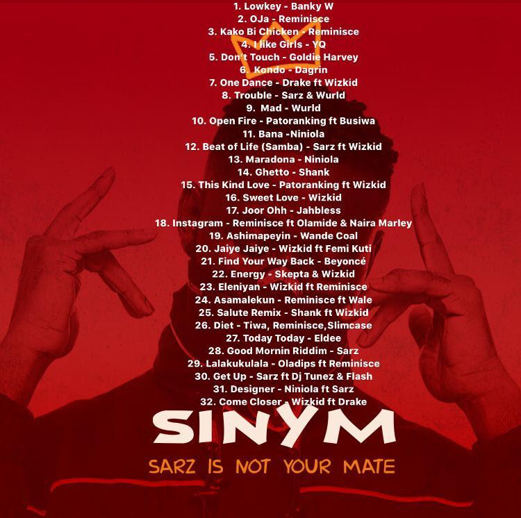 SINYM Tracklist